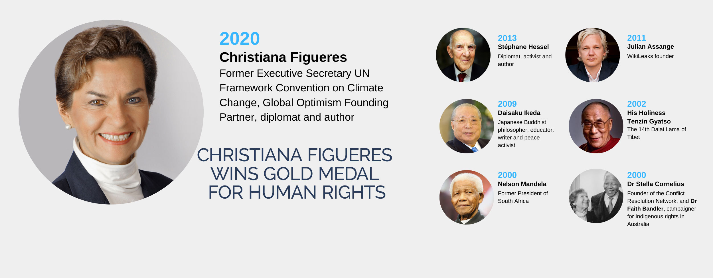 CHRISTIANA FIGUERES WINS GOLD MEDAL FOR HUMAN RIGHTS