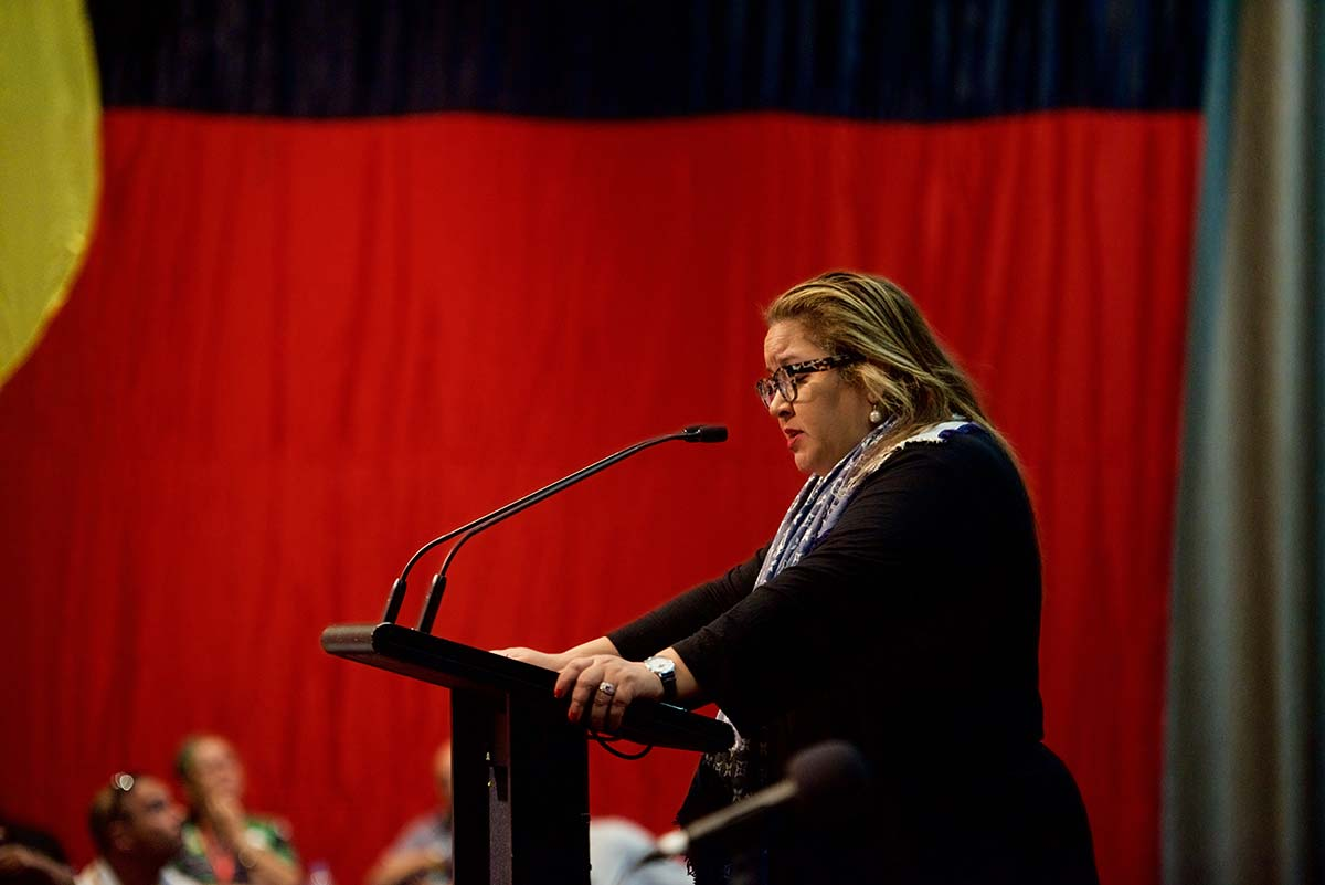 Megan Davis delivering the Uluru Statement from the Heart